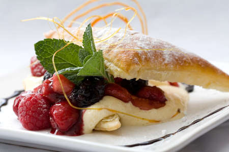 Delicious pastry dessert filled with fruit Stock Photo - 912628