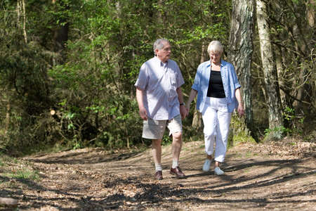 Senior couple together on a summerday strolling through the park Stock Photo - 926121