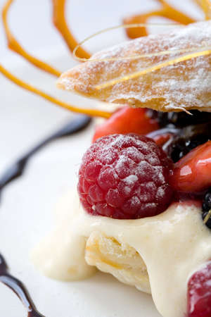 Delicious pastry dessert filled with fruit