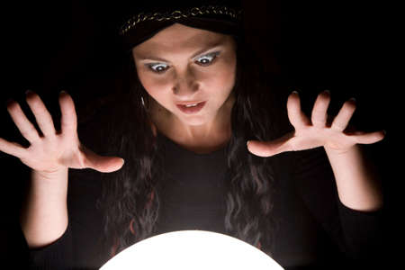 forecaster: Foretunneller looking into her crystal ball with a look of madness on her face