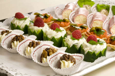 crudite: Small snacks on a plate ready to be served at the party