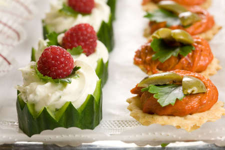 crudite: Delicious party snacks on a plate ready to be served