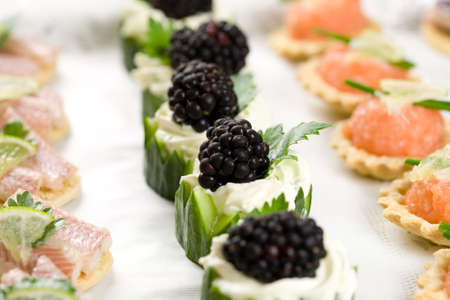 crudite: Delicious snacks served on a platter with cucumber and cheese, toast and salmon and eel