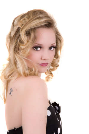 strapless dress: Beautiful blond girl with strapless dress on white background