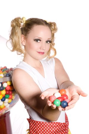 bubblegum: Young teenager with two ponytails holding bubblegum