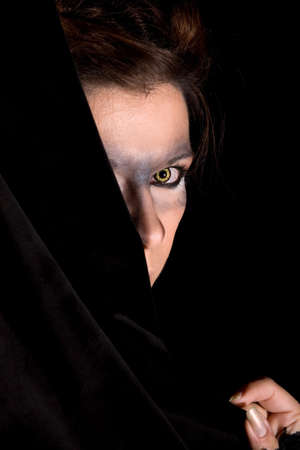 bloodshot: Mysterious woman with yellow wolf eyes and bloodshot eyes