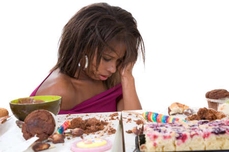 Pretty black woman having clearly eaten too much photo