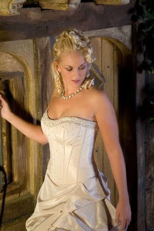 strapless: Beautiful blond woman in gorgeous wedding dress