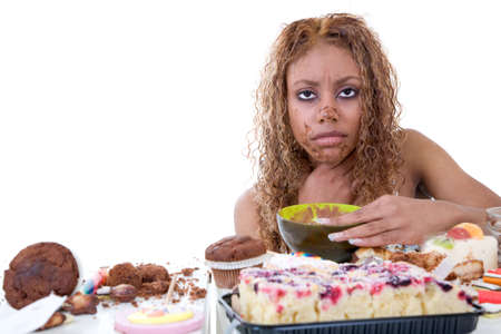 queasy: Pretty black girl feeling very ill after having eaten too much sweets