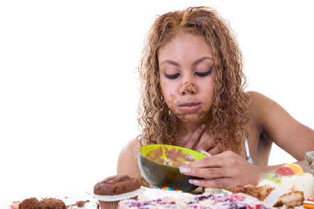 Pretty black girl about to throw up after having eaten too much Stock Photo - 1849018