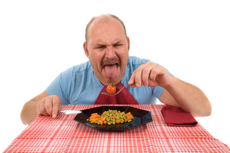 obnoxious: Mature man sticking out his tongue in disgust Stock Photo