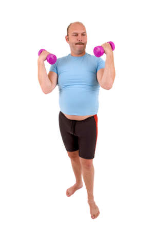 Overweight man with beer belly and very light hand weights photo