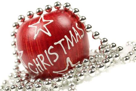 christmas apple: Red Apple natale decorato con perle argento