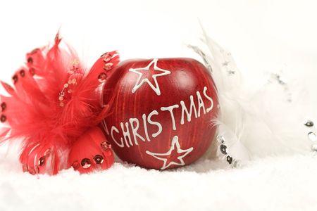 christmas apple: Natale mela circondato da un bianco e un rosso di piume sulla neve