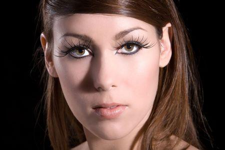 eye lashes: beautiful brunette with long fake eye lashes Stock Photo