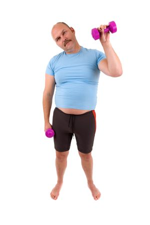 demotivated: Overweight man pretending to do something with his dumbbells Stock Photo