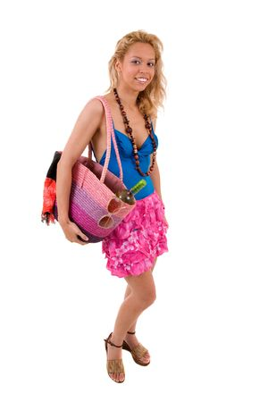 beachbag: Pretty blond girl getting ready to go to the beach