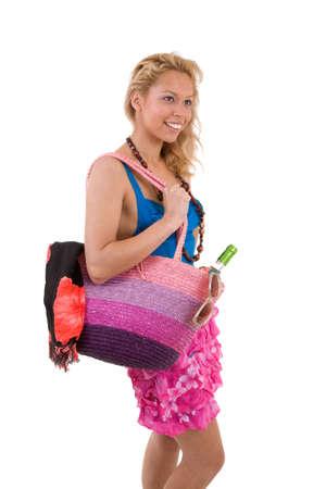 beachbag: Pretty blond girl all ready to go to the beach