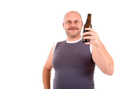 man with a goatee: Overweight man holding a bottle of beer in his hand