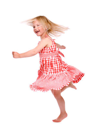 four year old: Cute little blond four year old dancing on white background