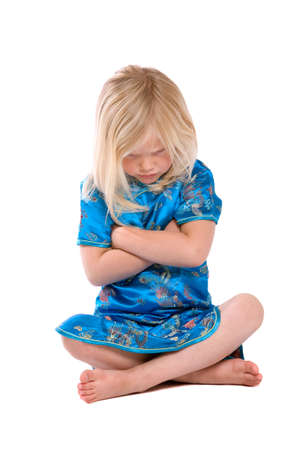 tantrum: Cute little four year old girl refusing to listen Stock Photo