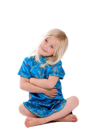 four year old: Cute little four year old girl on white background