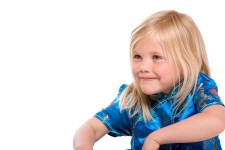 Cute little four year old on white background Stock Photo - 3145020