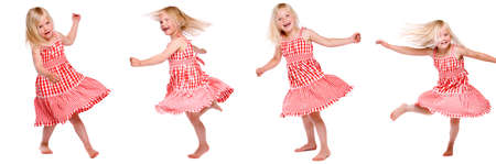 Collage of four photos of a little dancing girl