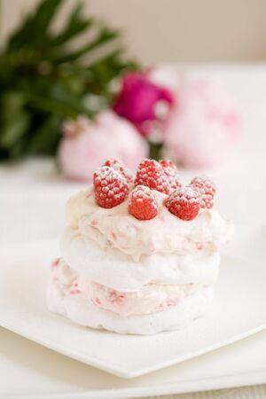 Delicious meringue dessert with raspberry cream and fresh raspberries Stock Photo - 3257221