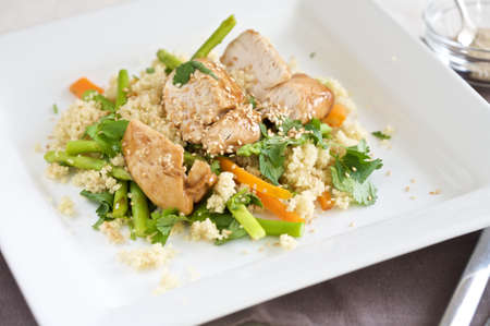 hoisin sauce: Light meal with chicken glazed with honey and hoisin sauce and couscous Stock Photo