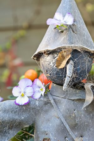 Old tin scarecrow covered in spiderwebs and with lovely violets photo