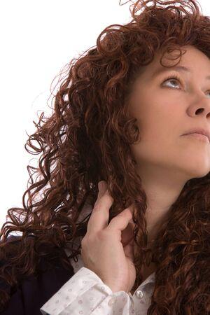 흰색 배경에 찾고 예쁜 갈색 머리 스톡 콘텐츠
