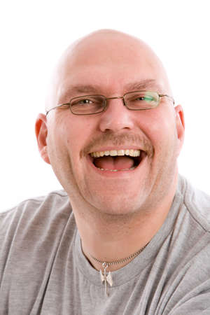 insincere: Mature bald man with a very fake laugh