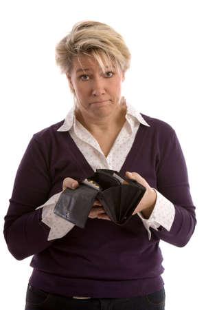 Frau hält ihre Brieftasche öffnen, die nur mit Eingang, aber kein Geld Standard-Bild - 3929871