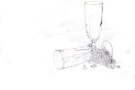 newyear: Champagne glasses on white to celebrate the newyear