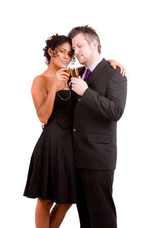 couple mixte: Cute couple mixte chauffe pour la Saint-Valentin Banque d'images
