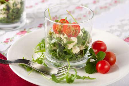 amuse: Healthy and small salad with feta and mozarella and rocket