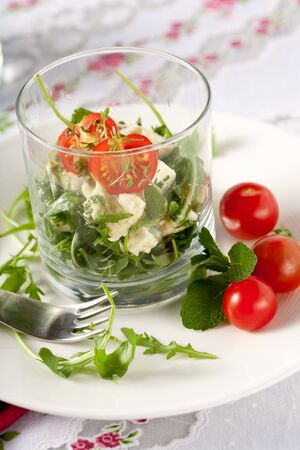 arugola: Healthy and small salad with feta and mozarella and rocket