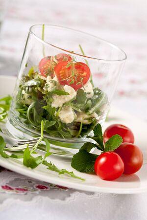 amuse: Small and healthy salad with feta, rocket and mozarella