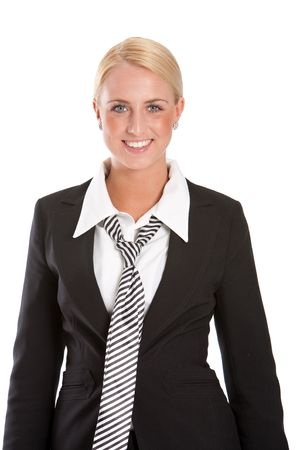 Beautiful businesswoman with radiant smile on white background Stock Photo - 4873809
