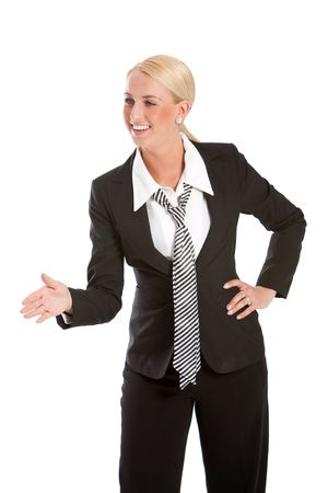 Pretty business woman extending her hand for a handshake Stock Photo - 4873816
