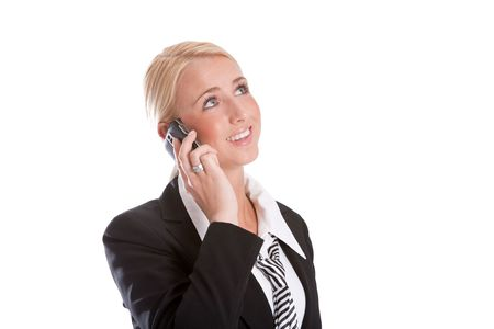 Pretty businesswoman talking on the phone looking happy Stock Photo - 4873790
