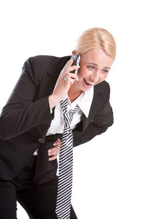 laughing out loud: Mujer de negocios en el tel�fono re�r a carcajadas