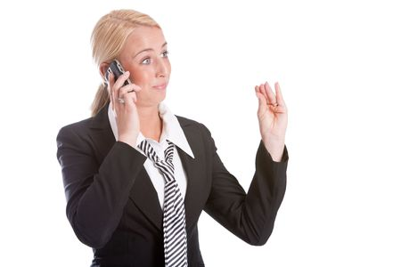 sceptic: Businesswoman looking very unconvinced while talking on the phone Stock Photo