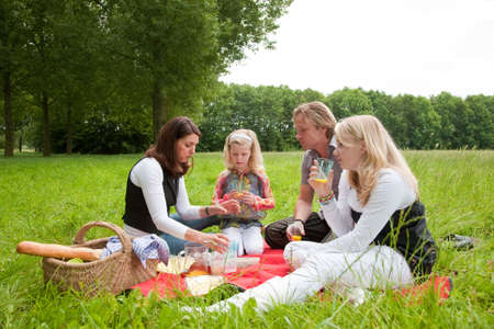 Pretty young family on an outdoors picnic in the field