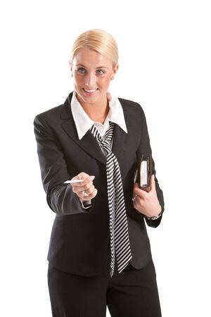 businesscard: Attractive young business woman offering her businesscard Stock Photo