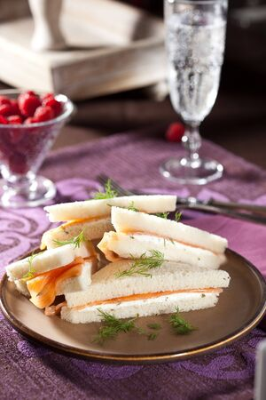 high tea: Small sandwiches for high tea with salmon and creamcheese