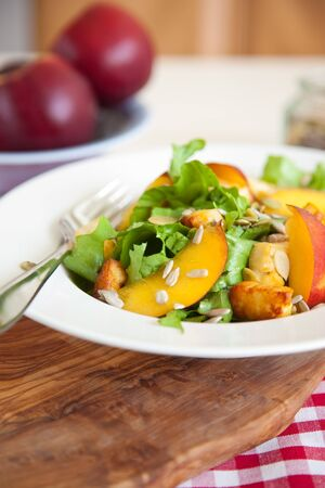 haloumi: Healthy and delicious salad with endive, haloumi and nectarines Stock Photo