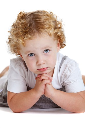 Cute little young girl looking with a serious expression Stock Photo - 7874640