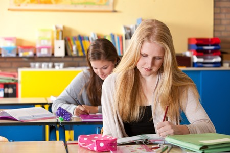 Two young girls sitting together and working on their homework in the classroom photo